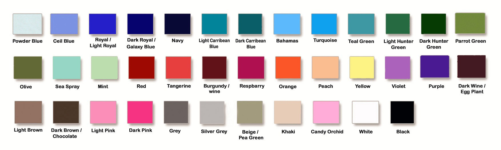 poplin color swatches
